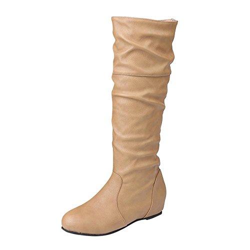 Esailq Femme Mode Botte Hiver Élégant Décontractée Chaussures Plates Bottes De Genou Slouchy Neige Doux Longue Kaki