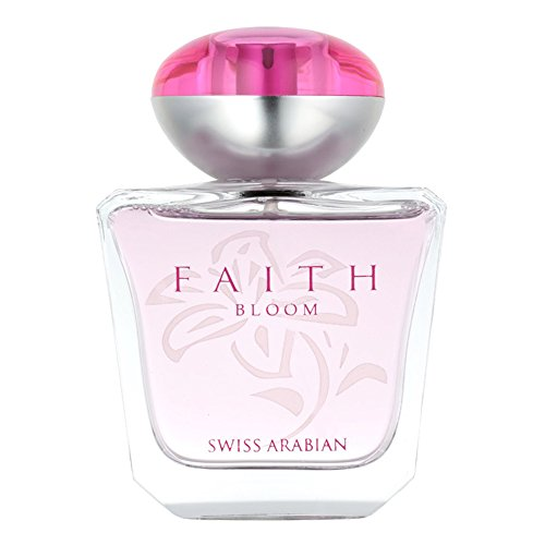 - Faith Bloom 100mL, a delicate Eau De Parfum for Women blend of Calabrian Bergamot, tender floral heart of Pink Peony and Damascus Rose and finishing touch of White Musk by perfume artisan Swiss Arabia