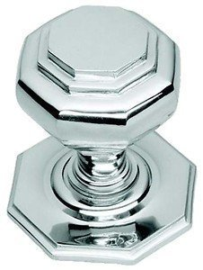 Chrome Door Knobs >> Large Polished Chrome Octagonal Centre Pull Door Knob Handle Bc15b