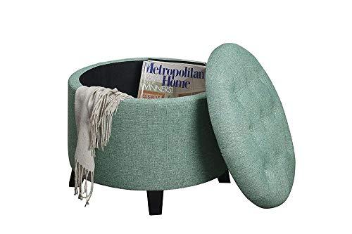 Convenience Concepts Designs4Comfort Round Ottoman, Green Faux Linen