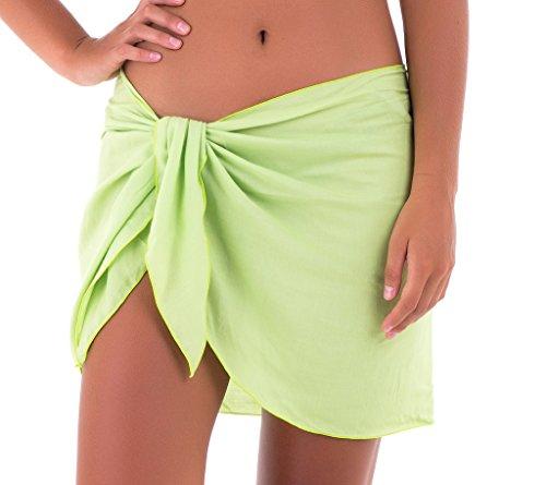 SHU-SHI Womens Mini Sarong Swimwear Bikini Cover Up Pareo Wrap Green