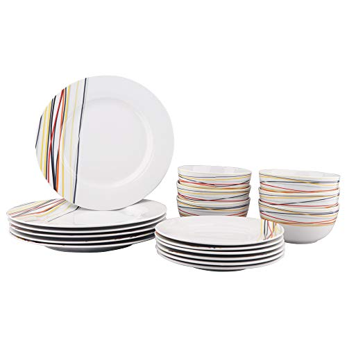 AmazonBasics 18-Piece Kitchen Dinnerware Set, Dishes, Bowls, Service for 6, Warm Beams (Dish Gold White And Set)
