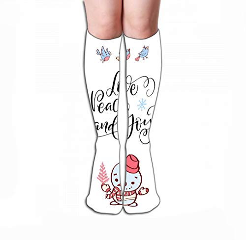 YILINGER Winter Holidays Typography Love Peace Joy Hand Drawn Snowman Birds han Compression Socks for Women & Men Best for Running, Athletic Sports, Crossfit, Flight Travel 19.7