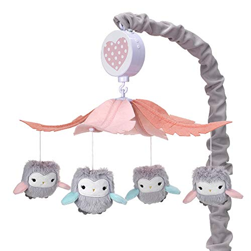 (Lambs & Ivy Sweet Owl Dreams Gray/Pink Musical Baby Crib Mobile Soother Toy)