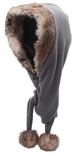 Bellady Men Women Fleece Hooded Scarf Hat Double Layers Warm Hoodie Hat,Grey