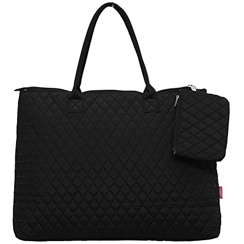 NGIL Quilted Cotton Extra Large Overnight School Tote Bag 2018 Spring Collection (Solid Black)