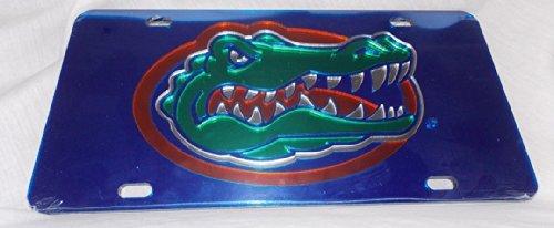 Gator Head Mirror - Florida Gators Laser Cut Inlaid Blue Mirror Plate w/Gator Head