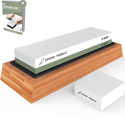 Premium Sharpening Stone 2 Side Grit 3000/8000 Whetstone | Best Kitchen Knife Sharpener Waterstone with Non-Slip Bamboo Base & Flattening Stone by Sharp Pebble