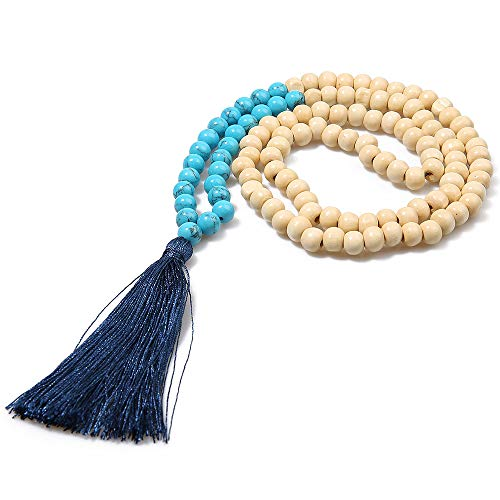 (BALIBALI 8MM Semi-Precious Gem Stones Wood Mala Bead Necklace Multicolor Tassel Charms Chain Necklace Handmade Beaded Pendant Necklace for Women Men)