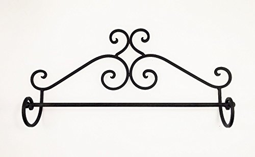 Aunt Chris' Products - Wrought Iron Towel Rack - Elegant Scroll Work - Victorian Style Wall Hung - Primitive Design - Use Indoor Or Outdoor