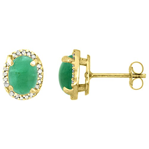 10k Yellow Gold Diamond Natural Cabochon Emerald Halo Stud Earrings Oval 7x5 mm ()