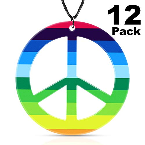 meekoo 12 Pieces Rainbow Peace Necklaces Plastic Peace