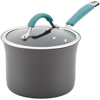 Rachael Ray 87658 Cucina Hard Anodized Nonstick Sauce Pan/Saucepan with Lid, 3 Quart, Blue