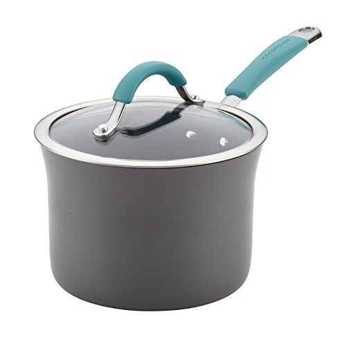 Rachael Ray 87658 Cucina Hard Enamel Saucepan, Medium, Agave Blue