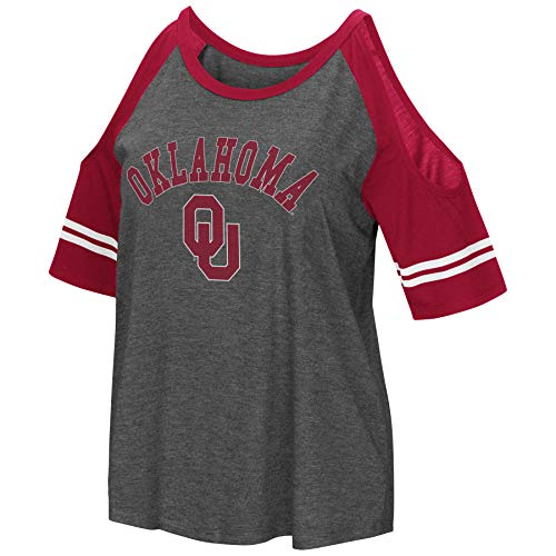 Colosseum NCAA Women's Casual Cold Shoulder Short Sleeve T-Shirt-Heather Charcoal-Oklahoma Sooners-Large (Ladies Oklahoma T-shirt)