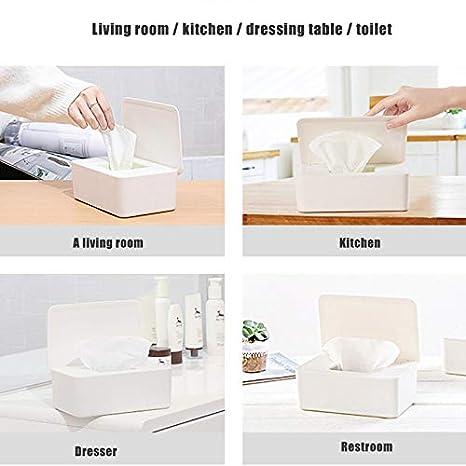 Dry Wet Tissue Paper Case Dustproof Tissue Storage Box Case Brianer Wet Wipes Dispenser Dispenser Holder with Lid for Home Office Desk