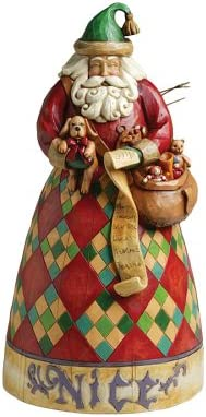 Enesco Jim Shore Heartwood Creek Santa Two Sided Naughty and Nice Figurine 10-Inch