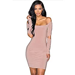 Liraly Womens Dresses Special Occasion Sexy Off The Shoulde Bodycon Long Sleeve Club Evening Party Dress Pink?� Us 4 Cn S