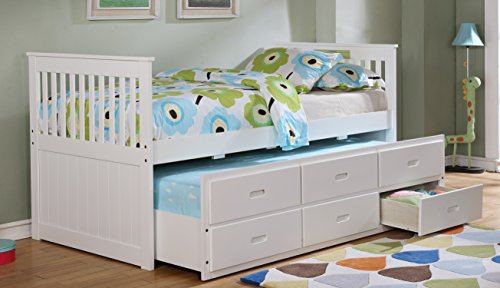 Major-Q Traditional Wood Frame White Twin Captains Bed with Trundle and 3 Drawers (SH4541114T)