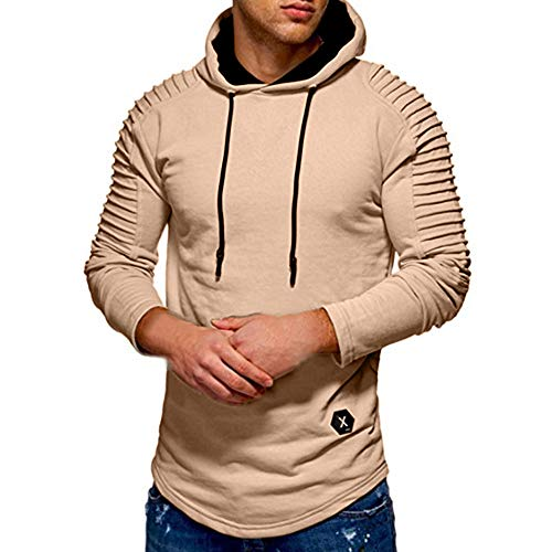OSTELY 2018 Fashion Autumn Winter turndown Solid Pleats Slim Fit Raglan Long Sleeve Hoodie Top Blouse (Khaki,Medium) (Cashmere Raglan)