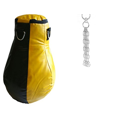 TurnerMAX Genuine Cowhide Leather Pear Shape Maize bag Kick Boxing Punch bags unfilled with chain Red Black 2 ft
