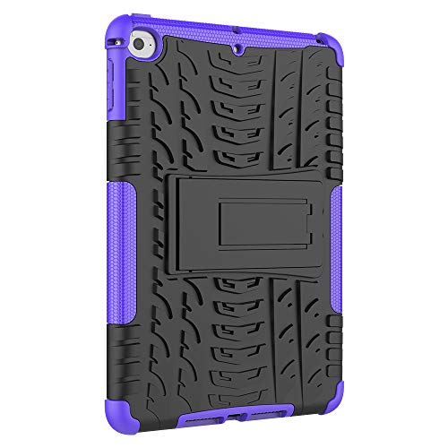 "Ankoe iPad Mini 5 Case, iPad Mini 4 Case, Heavy Duty Hybrid Dual Layer Rugged Rubber Armor Defender Protective Case with Kickstand for Apple iPad Mini 5th Genaration 7.9"" 2019 (Purple)"