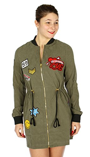 fashion2100 Long Sleeve Bomber Jacket w/Patches Olive XL