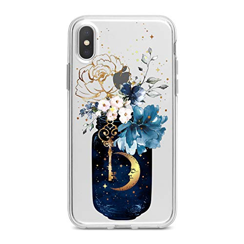 Lex Altern TPU Case for iPhone Apple Xs Max Xr 10 X 8+ 7 6s 6 SE 5s 5 Floral Bottle Art Flower Clear Cover Golden Moon Print Protective Pattern Girls Design Women Flexible Silicone Modern Cute New ()
