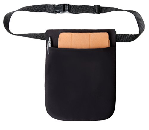Black Single Pocket Tablet Belt Holster Pouch with Adjustable Web Belt