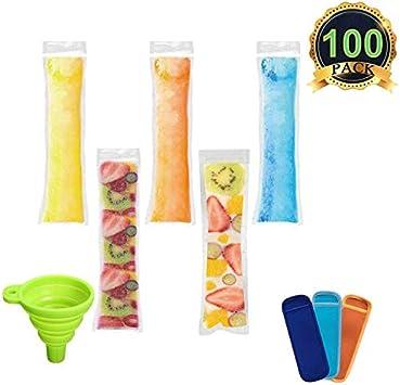 AUTOPkio 100 piezas Bolsas para helados de paletas de hielo con 1 pz De embudo y 3 piezas Mangas para helados de yogur, hielo o paletas congeladas, 22 x 6cm BPA Freezer