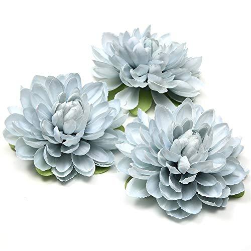 - Romanly 1Pcs 11Cm Silk Dahlia Artificial Flowers Daisy Flower Head Wedding Home Decoration DIY Flowers Wall Craft Flowers Light Blue