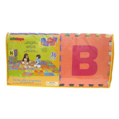 Edushape Edu-Tiles Letters & Numbers Play Mat, 36 Piece