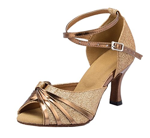 TDA Womens Ankle Strap Synthetic Glitter Knot Latin Modern Salsa Tango Ballroom Wedding Dance Shoes Gold pkk1NY