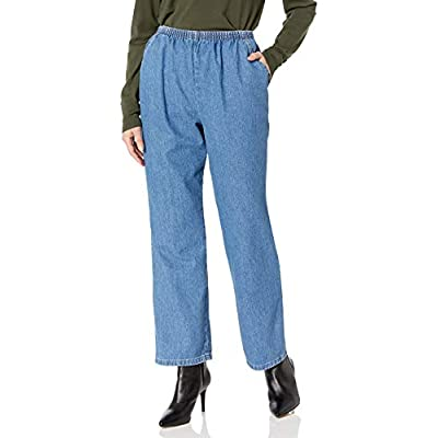 Chic Classic Collection Women's Cotton Pull-on Pant with Elastic Waist at Women's Clothing store