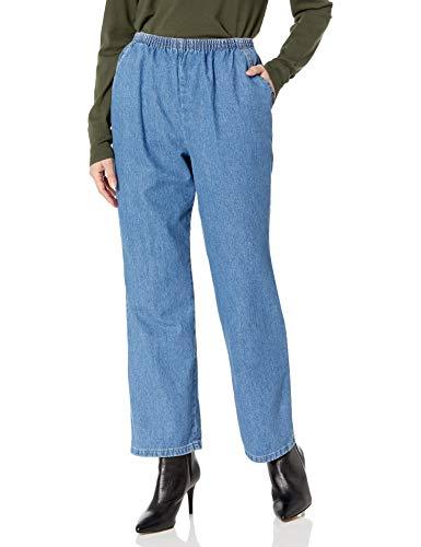 Chic Classic Collection Women's Petite Cotton Pull-On Pant with Elastic Waist, Destruction Blue Denim, 6P