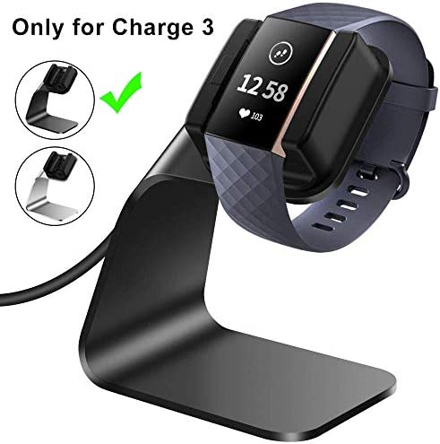 CAVN Compatible with Fitbit Charge 3 Charger Dock, (150cm/4.9ft) Replacement Premium Aluminum Charger Dock USB Charging Cable Adapter Portable Charging Stand for Charge 3 /Charge 3 SE, Silver