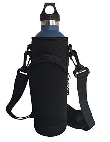 Onoola 24oz Pocket Carrier for Hydro Flask Type Bottles with Padded Adjustable Straps (Neoprene Sleeve/pouch) (Black)