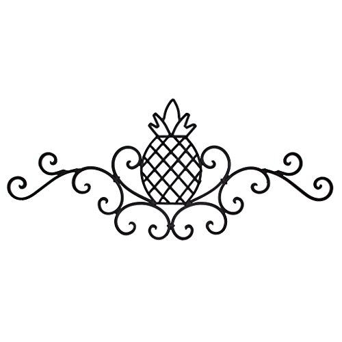 (UDL Decorative Metal Wall Art Sculpture, Rustic Scrolled Wrought Iron Pineapple Plaque, Dark Brown Welcome Friendship Home Decor Sign)