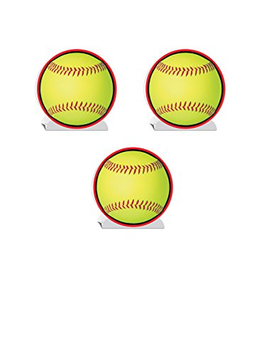 Beistle 54766, 3 Piece 3-D Softball Centerpieces, 10