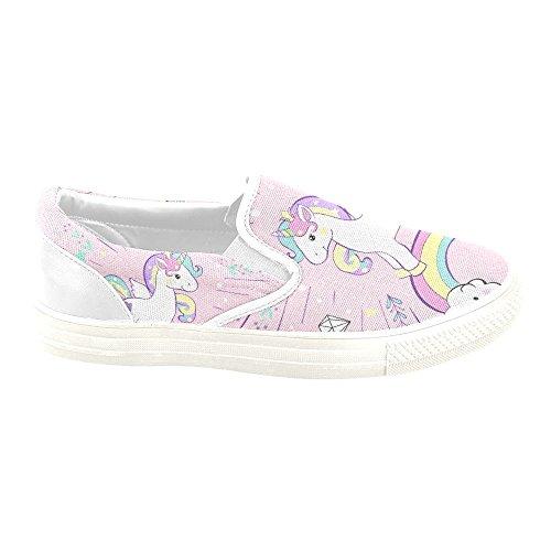 D-story Custom Sneaker Unicorno Donna Insolito Slip-on Scarpe Di Tela