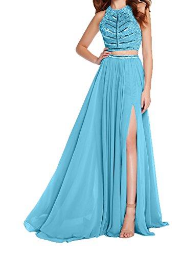 Charmant Chiffon Abendkleider Jugendweihe Formalkleider 2018 Brautmutterkleider Festlichkleider Kleider Elegant Damen Neu Blau r7nx7w6Tq