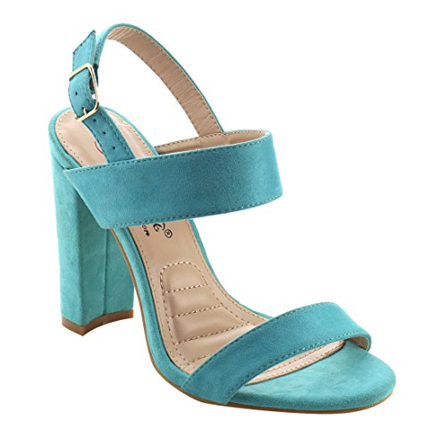 Buckle Stacked Womens Slingback AG98 Turquoise Heel Chunky Sandals Dress DBDK wBEvYq1