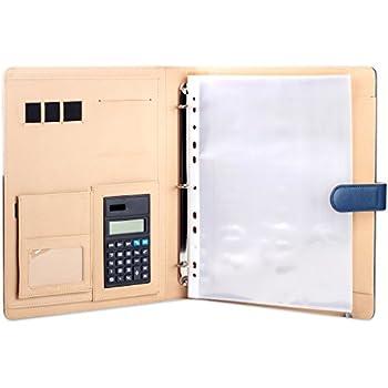 plinrise high grade multifunction letter size padfolio resume portfolio folder document organizer business card holder with calculator and 8 file pockets
