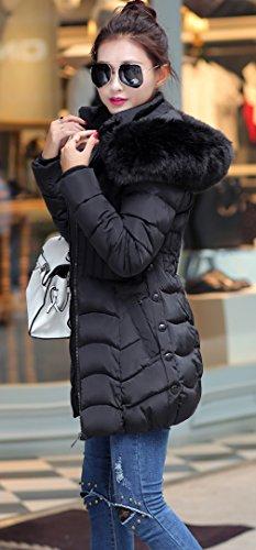 Manteau Fourrure Taille Capuche Vogue Femme Noir Size5 Hiver Grande La Doudoune qwT17tFUO