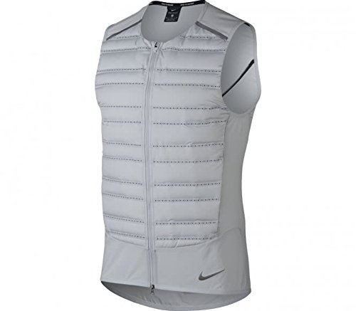 NIKE Aeroloft Men's Running Vest (Pure Platinum/Black/Metallic Silver, Medium)