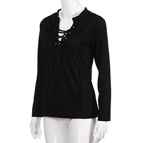Nv Lacci Qinmm Camicia Manica shirt Bendaggio Collo T Tinta SexysNeroNero V Ladies DonnaLe Donne Lunghi Sciolti Camicetta Casual Maglia uT1FKc35Jl