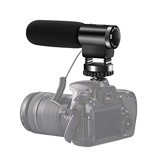 Camcorder Microphone, Shotory Shotgun Interview Camera Microphone, Professional External Hypercardioid On-Camera Microphone for Nikon Canon DSLR Camera/DV Camcorder