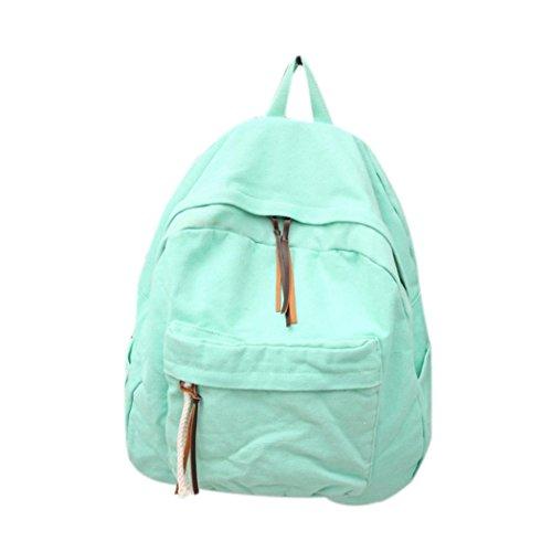 Mint Green Satchel Sagton Backpack Men Solid Canvas Bookbags Backpack Women Color School PvZAwq1