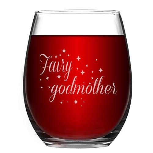 Wine Glass Fairy Godmother Funny Stemless Wine Glass - 15oz Novelty Gift Funny Glass for Her Mom Wife Girlfriend Sister Besties Friends BFF Women - Fairy Godmother