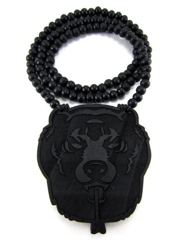 Bear Face Pendant - Miami Jewels Large Wooden Bear Head Black Wood Pendant & Chain